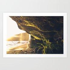 sunset moss cave Art Print
