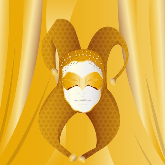 Mascaras Venecianas (Yellow) Art Print