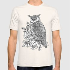 Owl With Flowers Mens Fitted Tee Natural SMALL
