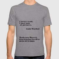 WARHOL: I Never Read, I … Mens Fitted Tee Athletic Grey SMALL