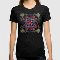 Lace Flower Mandala Womens Fitted Tee Tri-Black SMALL