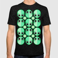 Happy Alien and Daisy Nineties Grunge Pattern Mens Fitted Tee Tri-Black SMALL