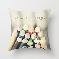 Color It Vintage Throw Pillow
