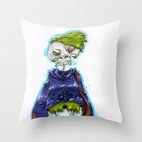 Skinny Skeleton Kid Throw Pillow
