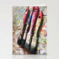 Four Paintbrushes Stationery Cards
