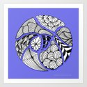Zentangle Design - Black, White and Purple Illustration Art Print
