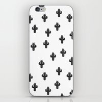 Catctus Black On White iPhone & iPod Skin