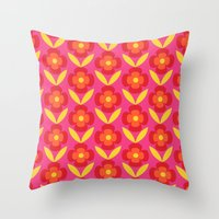 Retro happy bright floral 4 Throw Pillow