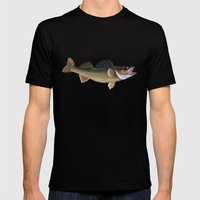 walleye Mens Fitted Tee Black SMALL
