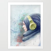 girl watercolor Art Print