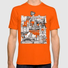 AUSTRALIA Toile De Jouy Mens Fitted Tee Orange SMALL