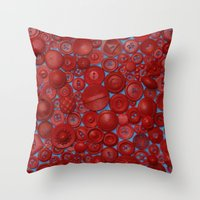 Red Buttons Throw Pillow