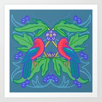 King Parrots and Figs 1 Art Print