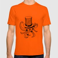 Squid Is Lost In Hat Mens Fitted Tee Orange SMALL