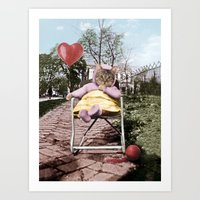 Pretty little Kitty with a heart balloon Art Print