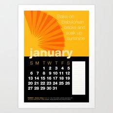 2013 Pigment to Pantone Calendar – JANUARY Art Print