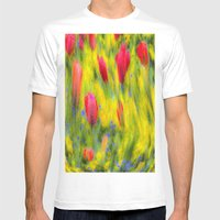 English Summer Flowers Pastel Mens Fitted Tee White SMALL