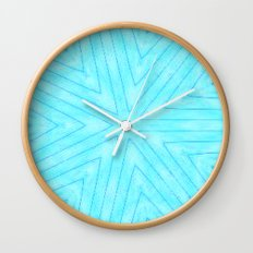 Turquoise Snowflakes Wall Clock