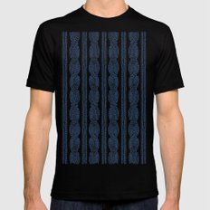 Cable Knit Navy SMALL Black Mens Fitted Tee