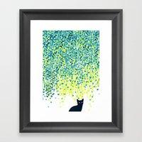 Cat In The Garden Under … Framed Art Print