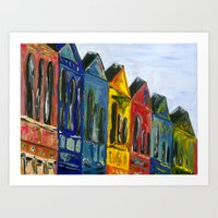Rainbow Row Art Print