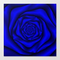 Deep Blue Rose Spiral Canvas Print