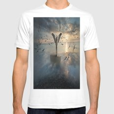 Birds of freedom White SMALL Mens Fitted Tee