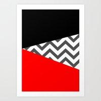 Color Blocked Chevron 10 Art Print
