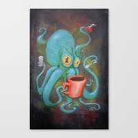 Michelle's Coffee Drinking Octopus Canvas Print