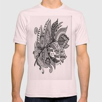 Zentangle Feather Mens Fitted Tee Light Pink SMALL