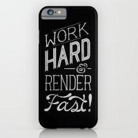 iPhone & iPod Case featuring Work Hard & Render Fast by Ellen Su