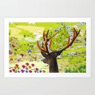Deer Online Art Print