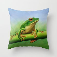 Moltrecht's Green Treefrog Throw Pillow