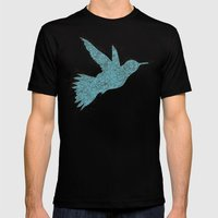 Bird Fly 1 - Aqua/Brown Mens Fitted Tee Black SMALL
