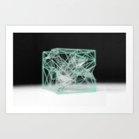 neon cube Art Print