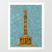 Siegessäule Drawing Meditation - Blue Art Print