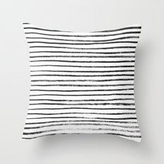 Black Brush Lines On Whi… Throw Pillow