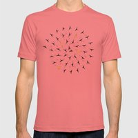 spiral birds Mens Fitted Tee Pomegranate SMALL