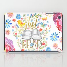 I Just Want To Read - White Floral iPad Case