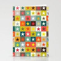 retro boxed stars Stationery Cards