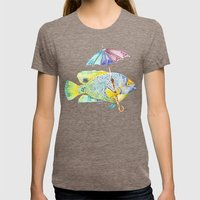Fishy Fish - Original Watercolor of Yellow Mask Angel Fish with Umbrella Womens Fitted Tee Tri-Coffee SMALL