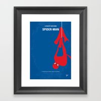 No201 My Spider man  minimal movie poster Framed Art Print
