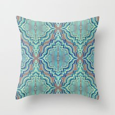 Marker Moroccan in Aqua, Cobalt Blue, Taupe & Teal Throw Pillow
