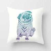 Duotone Pug Throw Pillow