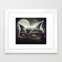 Owl & The Moon Framed Art Print