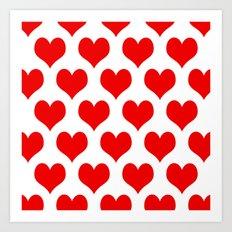 Holidaze Love Hearts Red Art Print