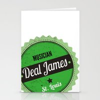 Deal James, Round Sticker Green Stationery Cards