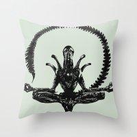 Meditation Alien Throw Pillow
