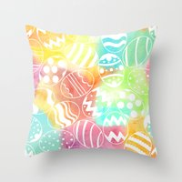 Watercolored Eggs Throw Pillow