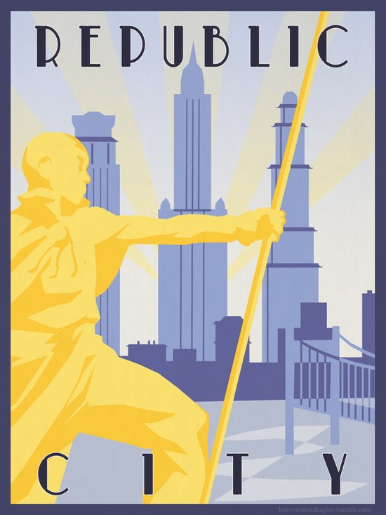 Republic City Travel Poster Canvas Print